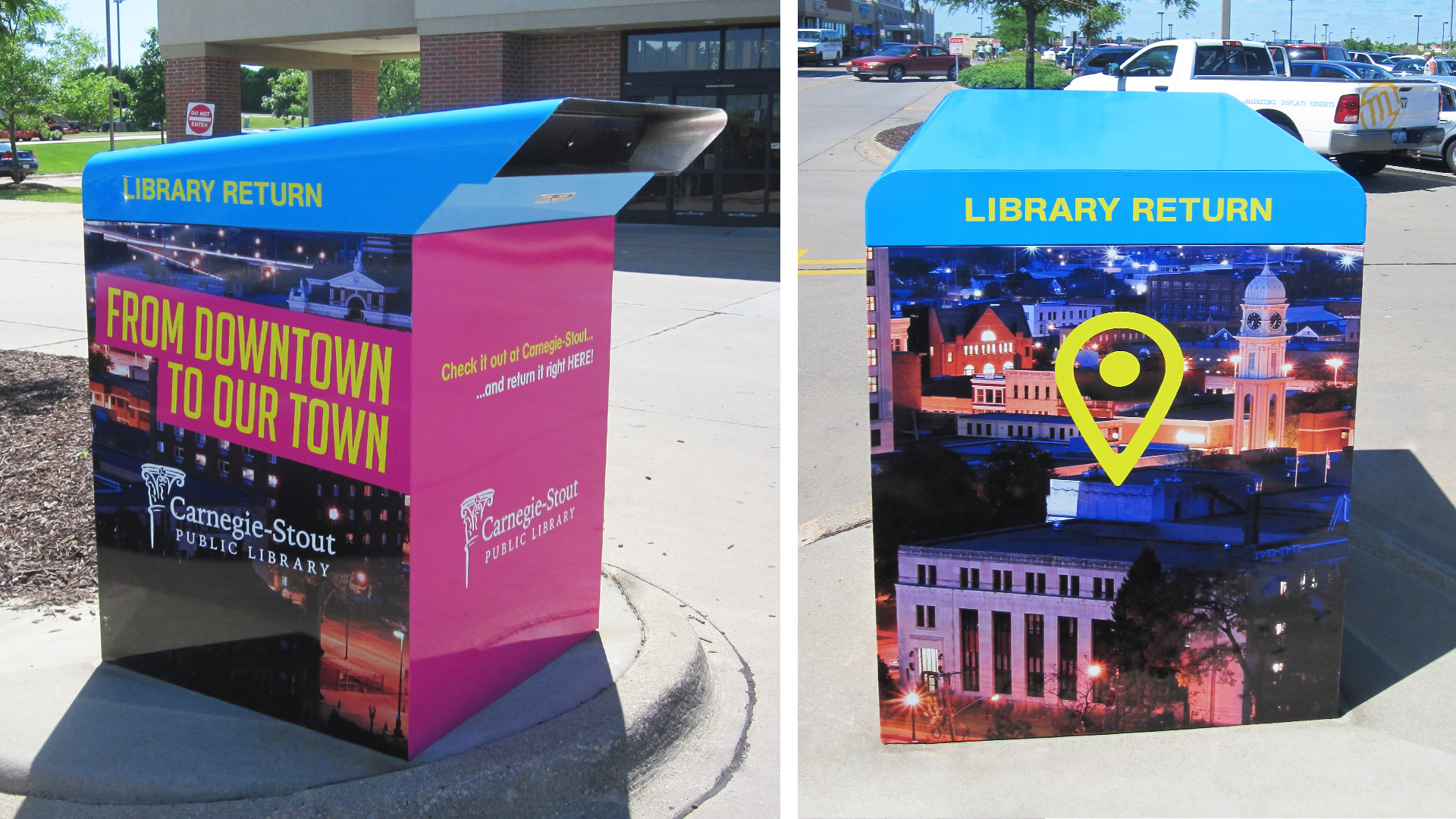 Carnegie Stout Public Library Book Drop Box Vinyl Wrap
