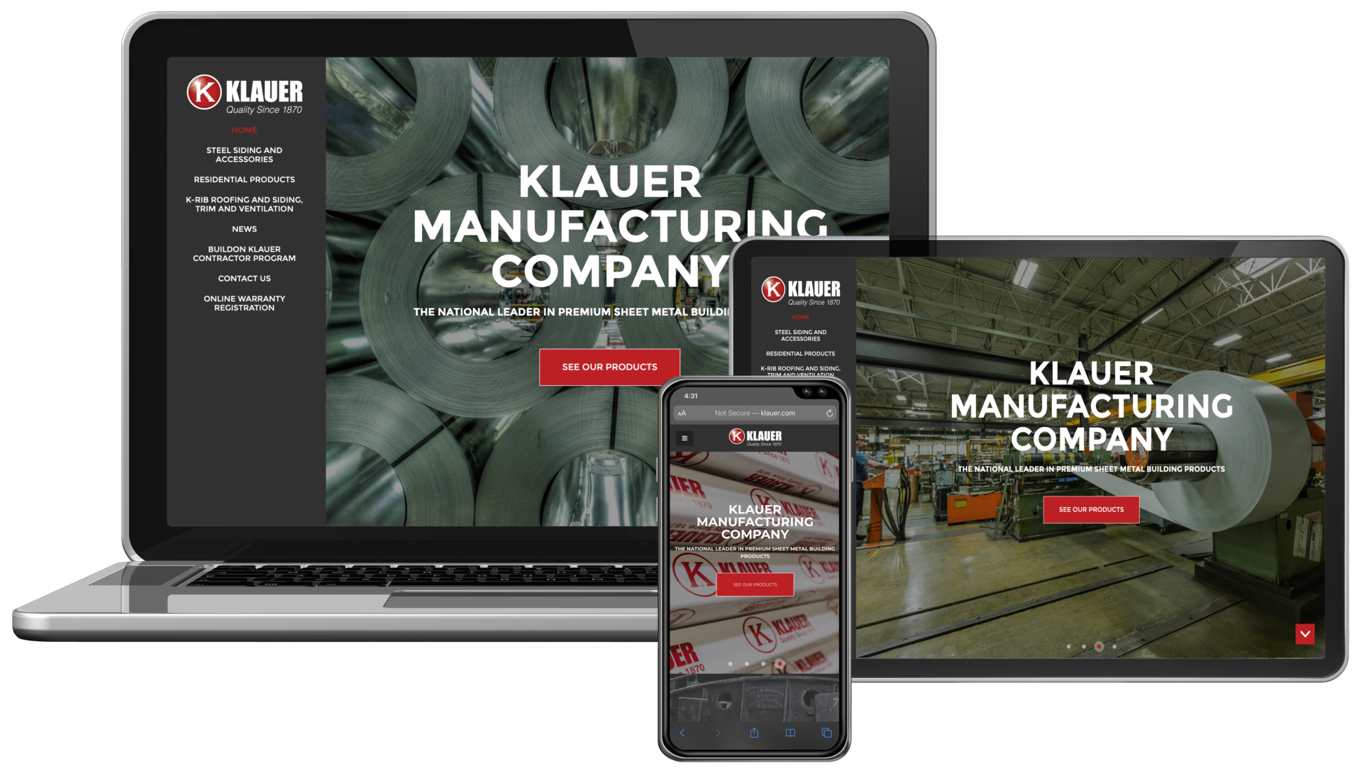 Klauer Manufacturing Website on Desktop, Tablet and Mobile Mockup