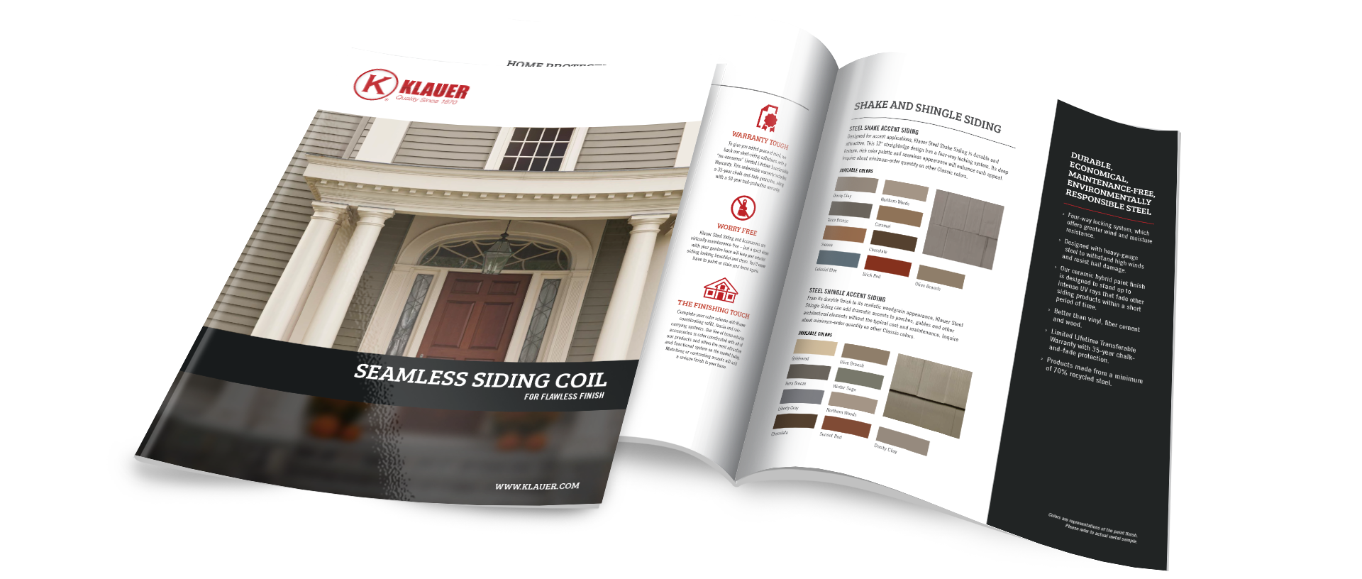 Klauer Manufacturing Product Brochure Cover and Interior Spread