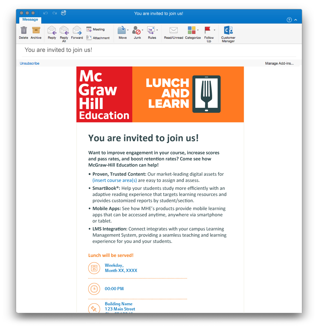 McGraw-Hill Lunch and Learn eBlast