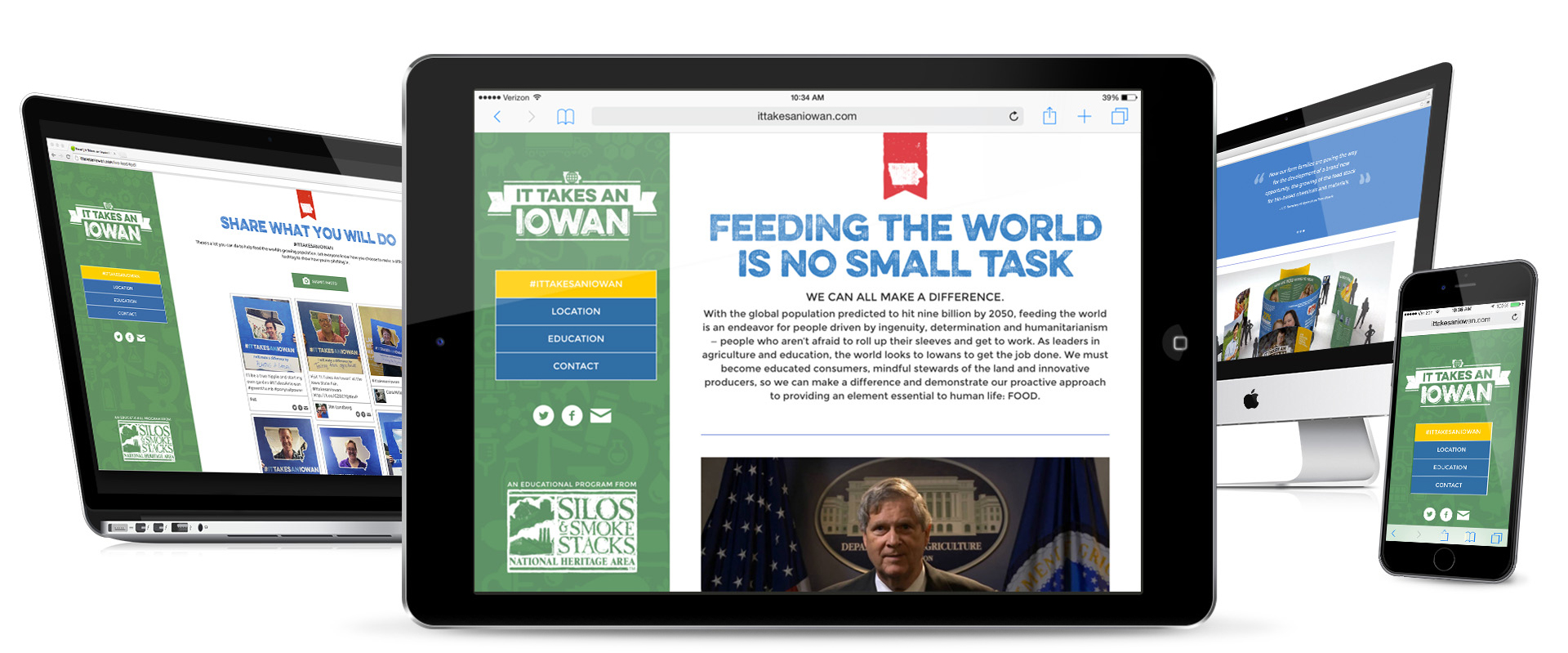 It Takes an Iowan Microsite Mockup on Computer, Tablet and Phone