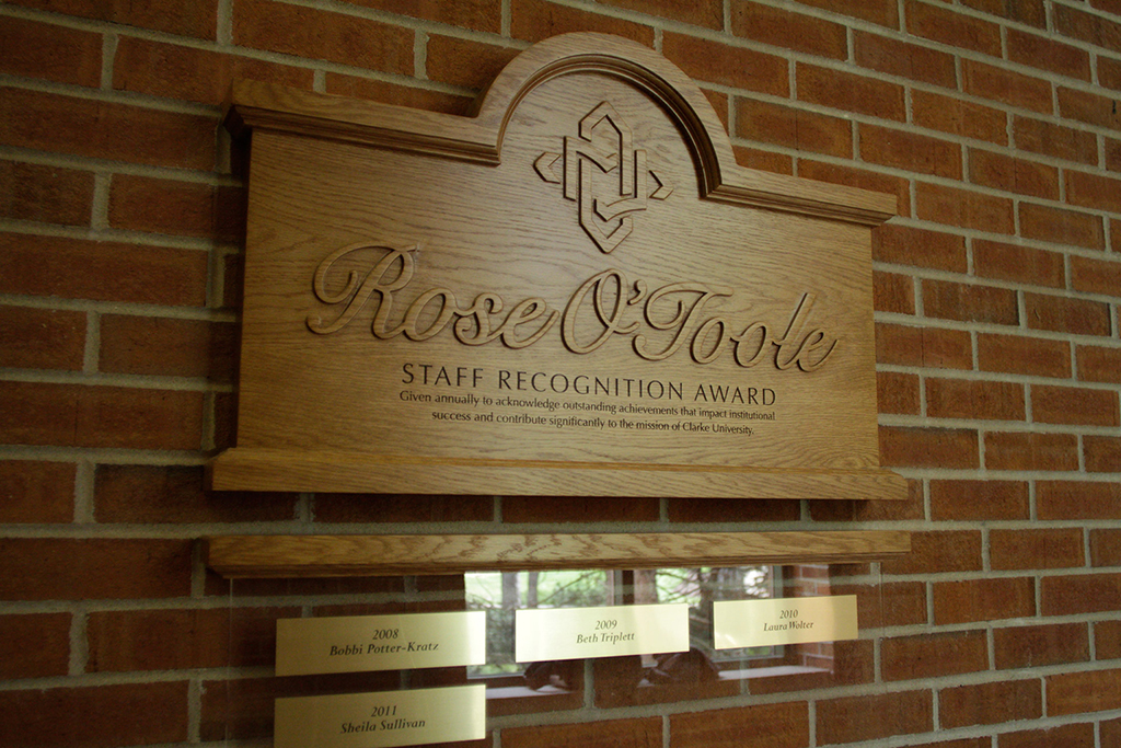 Clarke University Rose O'Toole Recognition Plaques
