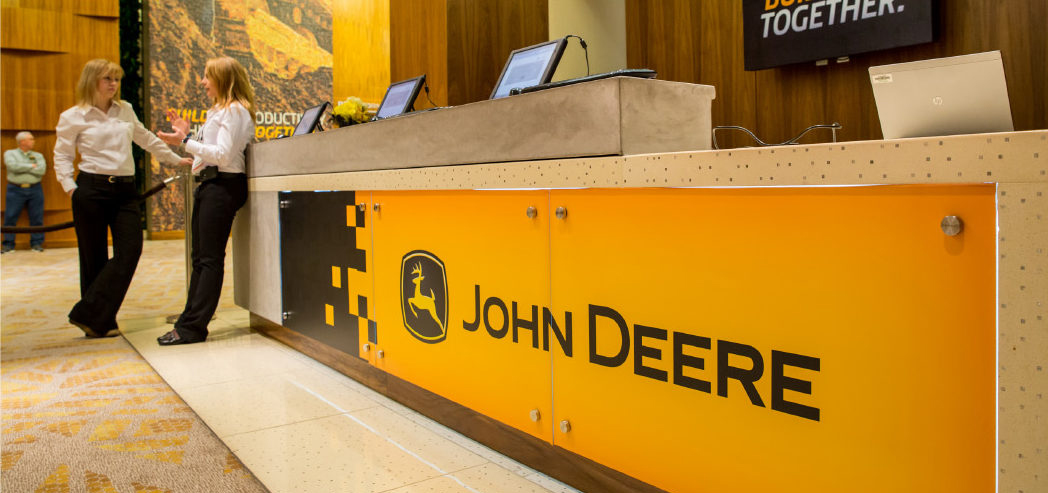John Deere Branded Reception Desk at the 2014 ConExpo Hospitality Event