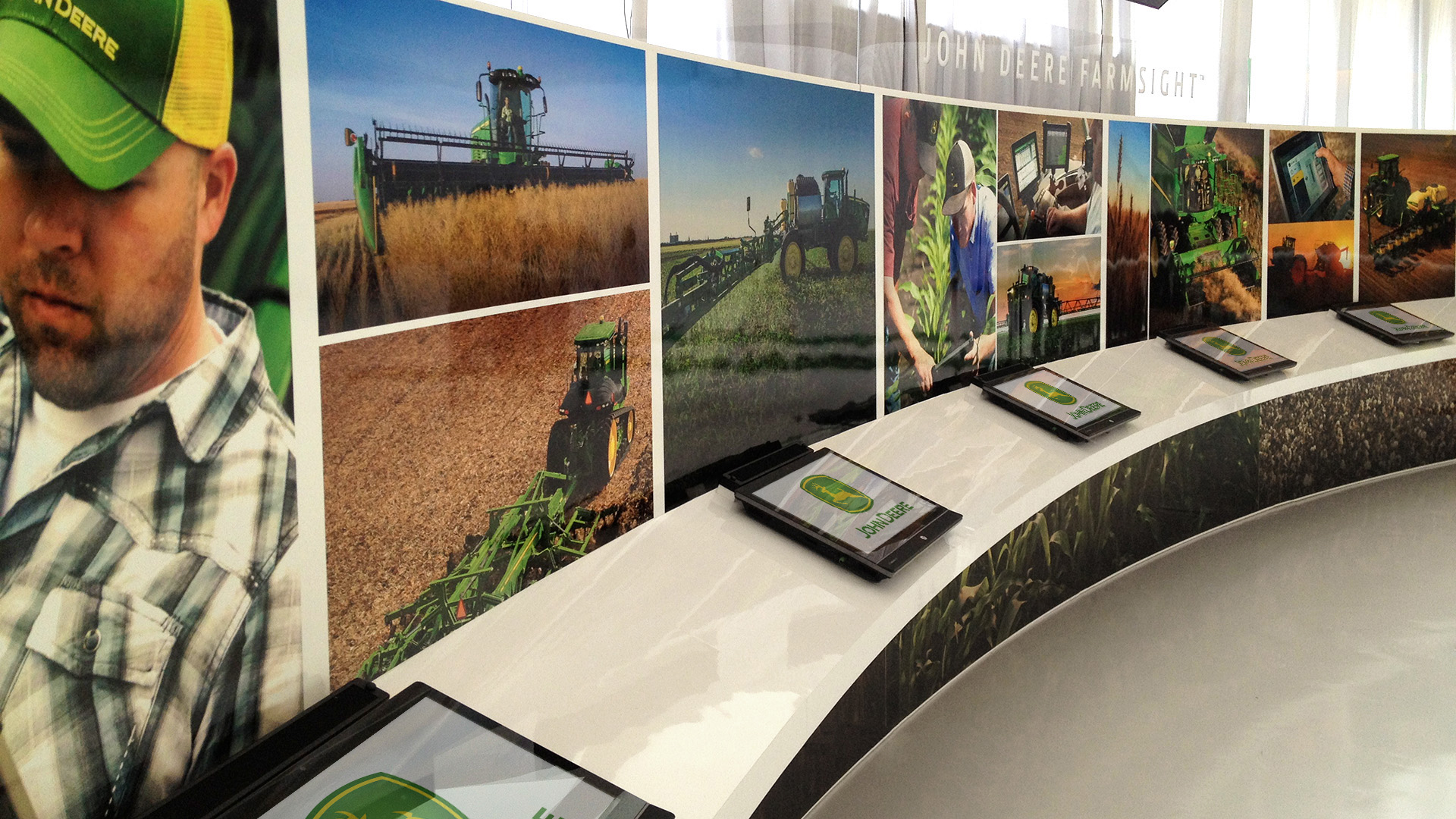 Close up of the John Deere ISG Technology wall and interactive monitors