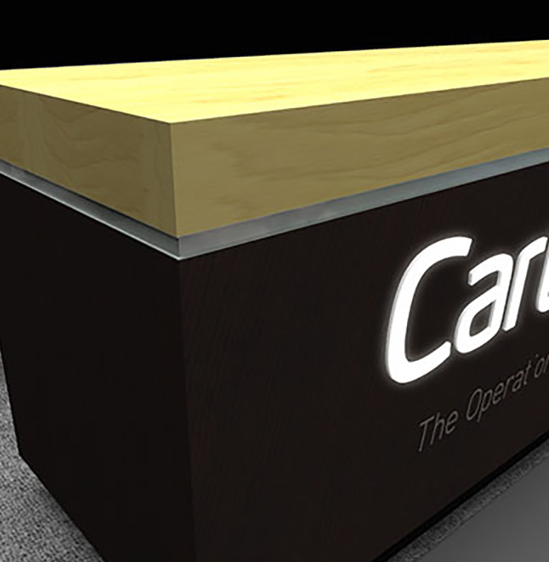 Cartegraph Tradeshow Booth Render Close Up of Front Desk