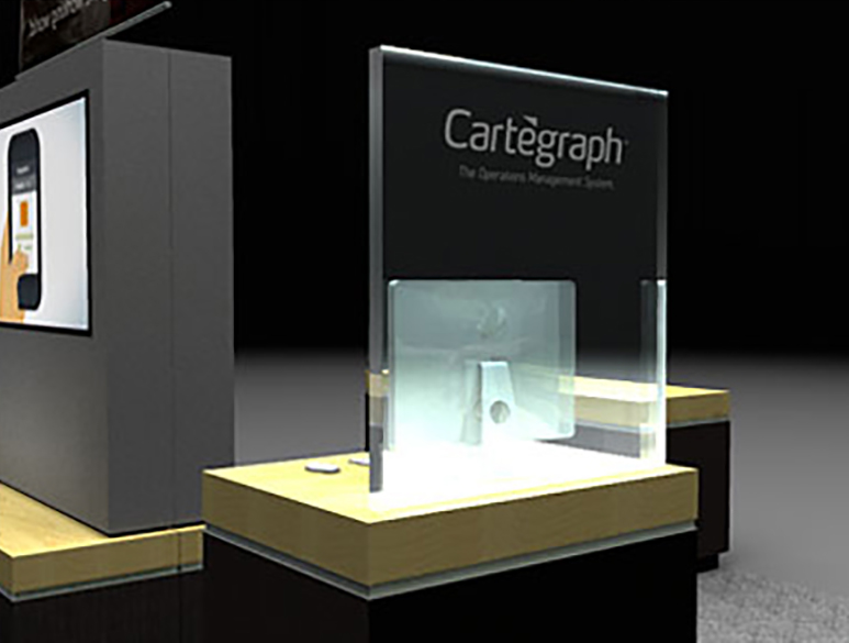 Cartegraph Tradeshow Booth Render Close Up of Side Desk